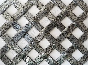 Woven Effect Diamond Pewter Grille Powder Coated Aluminium Sheet 1000mm x 660mm x 2mm
